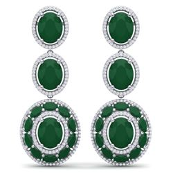 32.84 CTW Royalty Emerald & VS Diamond Earrings 18K White Gold - REF-490H9W - 39255
