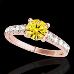 2.1 CTW Certified Si Fancy Intense Yellow Diamond Solitaire Ring 10K Rose Gold - REF-309Y3N - 35506