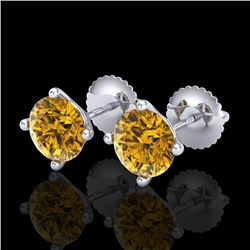 2 CTW Intense Fancy Yellow Diamond Art Deco Stud Earrings 18K White Gold - REF-272F8M - 38246
