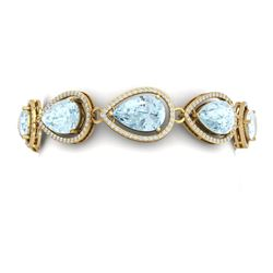 41.07 CTW Royalty Sky Topaz & VS Diamond Bracelet 18K Yellow Gold - REF-436R4K - 39566