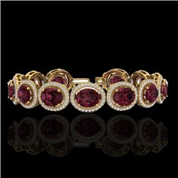 27 CTW Garnet & Micro Pave VS/SI Diamond Certified Bracelet 10K Yellow Gold - REF-360T2X - 22690