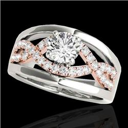 1.55 CTW H-SI/I Certified Diamond Solitaire Ring Two Tone 10K White & Rose Gold - REF-227T3X - 35293