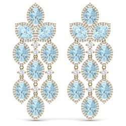 34.25 CTW Royalty Sky Topaz & VS Diamond Earrings 18K Yellow Gold - REF-450H2W - 38936