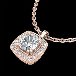 1.25 CTW Cushion VS/SI Diamond Solitaire Art Deco Necklace 18K Rose Gold - REF-315T2X - 37038