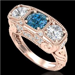 2.51 CTW Intense Blue Diamond Solitaire Art Deco 3 Stone Ring 18K Rose Gold - REF-345R5K - 37720