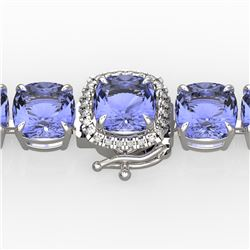 40 CTW Tanzanite & Pave VS/SI Diamond Bracelet 14K White Gold - REF-548Y2N - 23324