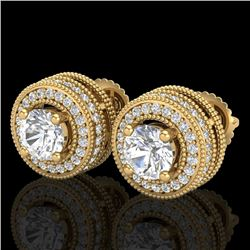 2.09 CTW VS/SI Diamond Solitaire Art Deco Stud Earrings 18K Yellow Gold - REF-254N5Y - 37141