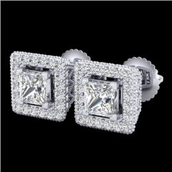 2.25 CTW Princess VS/SI Diamond Micro Pave Stud Earrings 18K White Gold - REF-272R8K - 37169