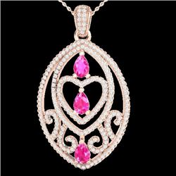 3.50 CTW Pink Sapphire & Micro VS/SI Diamond Heart Necklace 14K Rose Gold - REF-218M2F - 21289