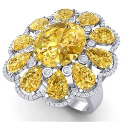 18.53 CTW Royalty Canary Citrine & VS Diamond Ring 18K White Gold - REF-254T5X - 39150