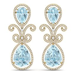30.49 CTW Royalty Sky Topaz & VS Diamond Earrings 18K Yellow Gold - REF-301F8M - 39551