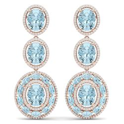 34.52 CTW Royalty Sky Topaz & VS Diamond Earrings 18K Rose Gold - REF-354R5K - 39268