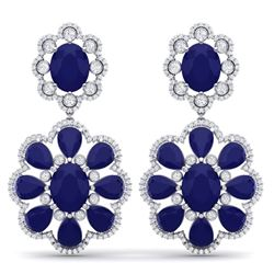 33.88 CTW Royalty Sapphire & VS Diamond Earrings 18K White Gold - REF-436F4M - 39159