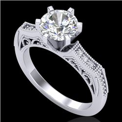1.51 CTW VS/SI Diamond Solitaire Art Deco Ring 18K White Gold - REF-442R5K - 37076