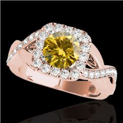 2 CTW Certified Si Fancy Intense Yellow Diamond Solitaire Halo Ring 10K Rose Gold - REF-234Y5N - 333