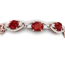 22.15 CTW Royalty Ruby & VS Diamond Bracelet 18K Rose Gold - REF-418W2H - 38962