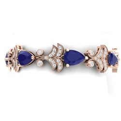 24.8 CTW Royalty Sapphire & VS Diamond Bracelet 18K Rose Gold - REF-436X4T - 38737