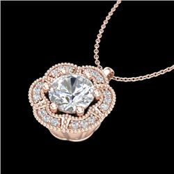 1.01 CTW VS/SI Diamond Solitaire Art Deco Stud Necklace 18K Rose Gold - REF-245H5W - 37110
