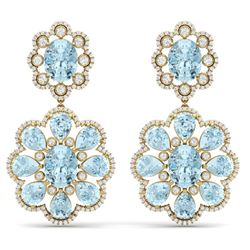 32.99 CTW Royalty Sky Topaz & VS Diamond Earrings 18K Yellow Gold - REF-345Y5N - 39164