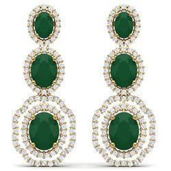 17.51 CTW Royalty Emerald & VS Diamond Earrings 18K Yellow Gold - REF-345R5K - 39203