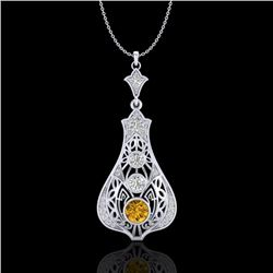 1.75 CTW Intense Fancy Yellow Diamond Art Deco Stud Necklace 18K White Gold - REF-218W2H - 37616