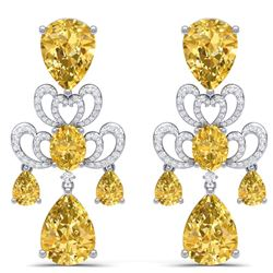 55.89 CTW Royalty Canary Citrine & VS Diamond Earrings 18K White Gold - REF-381Y8N - 38682
