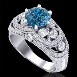 2 CTW Intense Blue Diamond Solitaire Engagement Art Deco Ring 18K White Gold - REF-309R3K - 37978