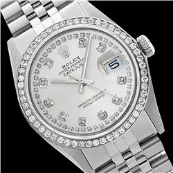 Rolex Men's Stainless Steel, QuickSet, Diamond Dial & Diamond Bezel - REF-441R8Z