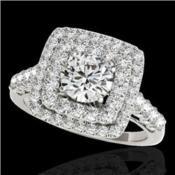 2.3 CTW H-SI/I Certified Diamond Solitaire Halo Ring 10K White Gold - REF-254K5R - 34594