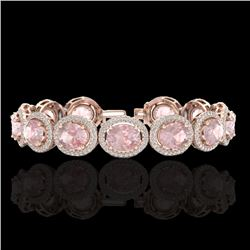 23 CTW Morganite & Micro Pave VS/SI Diamond Certified Bracelet 10K Rose Gold - REF-527N3Y - 22692