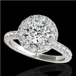 2 CTW H-SI/I Certified Diamond Solitaire Halo Ring 10K White Gold - REF-227R3K - 33445