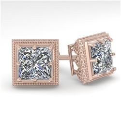 2.0 CTW VS/SI Princess Diamond Stud Earrings 14K Rose Gold - REF-512H8W - 29783