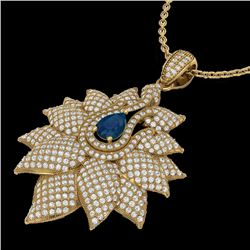 3 CTW Sapphire & Micro Pave VS/SI Diamond Designer Necklace 18K Yellow Gold - REF-257W3H - 22566