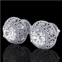 1.31 CTW VS/SI Diamond Solitaire Art Deco Stud Earrings 18K White Gold - REF-236Y4N - 36920