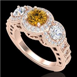2.16 CTW Intense Fancy Yellow Diamond Art Deco 3 Stone Ring 18K Rose Gold - REF-270R9K - 37673