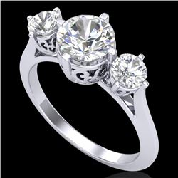 1.51 CTW VS/SI Diamond Solitaire Art Deco 3 Stone Ring 18K White Gold - REF-427N3Y - 37235