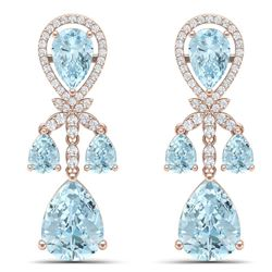40.01 CTW Royalty Sky Topaz & VS Diamond Earrings 18K Rose Gold - REF-290H9W - 38614