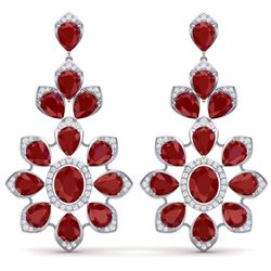 51.8 CTW Royalty Designer Ruby & VS Diamond Earrings 18K White Gold - REF-527Y3N - 39048