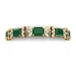 38.13 CTW Royalty Emerald & VS Diamond Bracelet 18K Yellow Gold - REF-490T9X - 39392