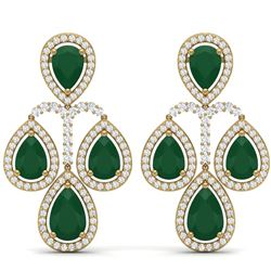 29.23 CTW Royalty Emerald & VS Diamond Earrings 18K Yellow Gold - REF-509N3Y - 39362