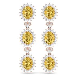 19.06 CTW Royalty Canary Citrine & VS Diamond Earrings 18K Rose Gold - REF-336M4F - 38653