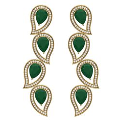 16.44 CTW Royalty Emerald & VS Diamond Earrings 18K Yellow Gold - REF-336N4Y - 39452