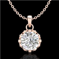 0.85 CTW VS/SI Diamond Solitaire Art Deco Stud Necklace 18K Rose Gold - REF-138T4X - 36840