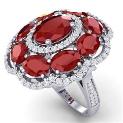 14.4 CTW Royalty Designer Ruby & VS Diamond Ring 18K White Gold - REF-263N6Y - 39186