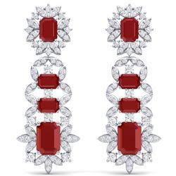 30.25 CTW Royalty Designer Ruby & VS Diamond Earrings 18K White Gold - REF-618W2H - 39408