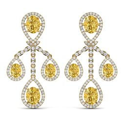 20.69 CTW Royalty Canary Citrine & VS Diamond Earrings 18K Yellow Gold - REF-418K2R - 38588