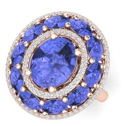 8.49 CTW Royalty Tanzanite & VS Diamond Ring 18K Rose Gold - REF-218T2X - 39247