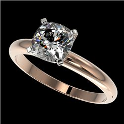 1.25 CTW Certified VS/SI Quality Cushion Cut Diamond Solitaire Ring 10K Rose Gold - REF-372K3R - 329