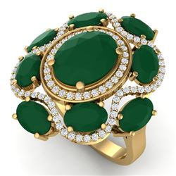 9.86 CTW Royalty Designer Emerald & VS Diamond Ring 18K Yellow Gold - REF-218K2R - 39293