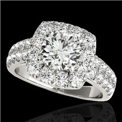 2.25 CTW H-SI/I Certified Diamond Solitaire Halo Ring 10K White Gold - REF-229X3T - 33634
